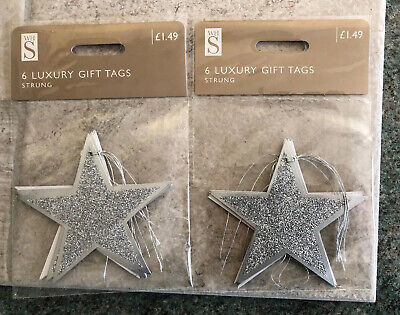 Xmas Gift Tags x 12- Silver Glittered Star Shaped - WHSmith Luxury-New & Sealed