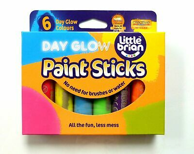 Little Brian Paint Sticks For Kids, Pack of 6 Assorted Day Glow Colours