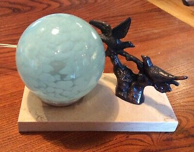 French Art Deco Bird marble table light