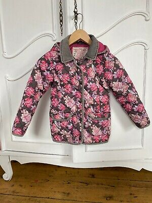 Monsoon Girls Quilted Padded Winter Coat Jacket 7-8 Years floral Pink Flowers