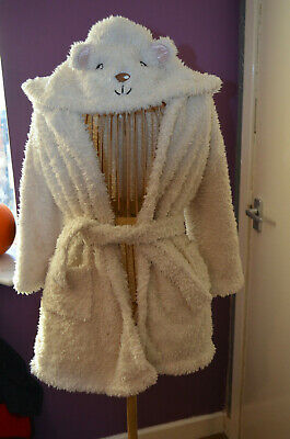 Girls Size 5-6 Years Bath Robe Dressing Gown Polar Bear Fluffy Warm