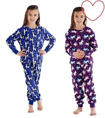Chilrens Pyjama Set Girls Fleece Pjs Pajamas Llama Unicorn