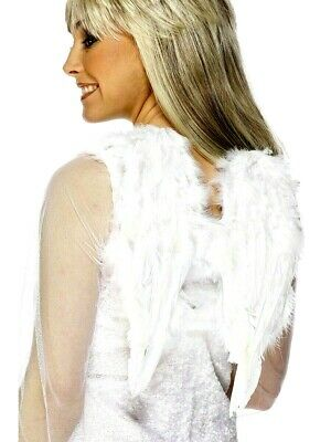 Ladies Girls White Feather Angel Wings Christmas Xmas Fancy Dress Costume New