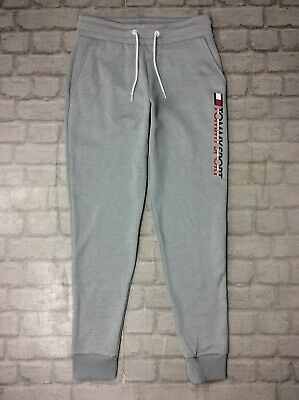 Tommy Hilfiger Sports Ladies Uk S Grey Logo Poly Joggers Jogging Bottoms Rrp £75