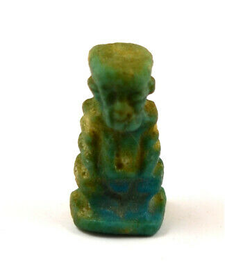 Egypt Late Period blue faience amulet of the dwarf Ptah-Pataikos