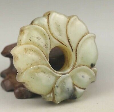 Chinese old natural jade hand-carved flower ring pendant 2.1 inch