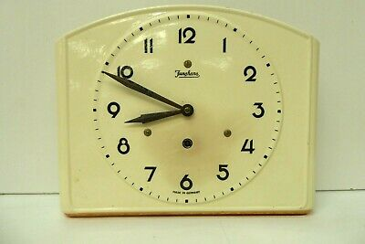 JUNGHANS 1950s CHINA WALL CLOCK MADE IN GERMANY KEY WIND ART DECO