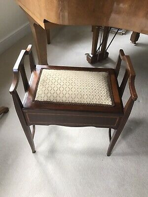 Antique Edwardian Mahogany Inlaid Piano Stool - Music Chair