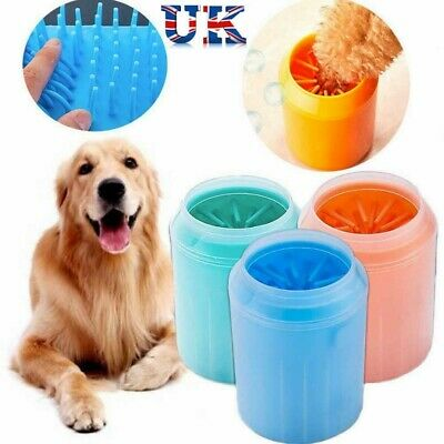 UK Silicone Pet Cleaning Brush Cup Dog Foot Cleaner Portable Dog Paw Cleaner