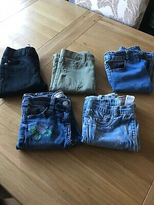 Girls 5 Pairs Of Jeggings Jeans Denim Khaki Black Embriodered Next Primark