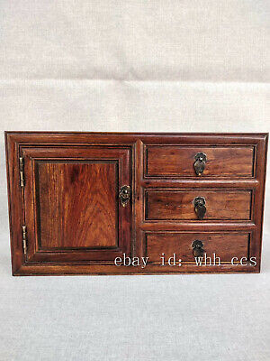 """14"""" Chinese antiques flower Lei Muk Hand-carved Three drawer small cabinet"""