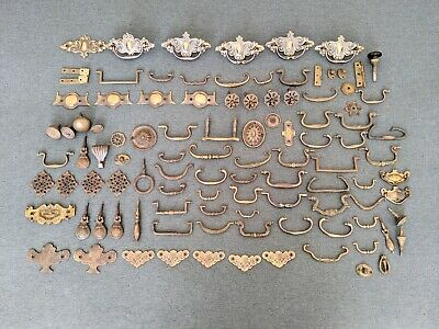 100 Antique Vintage Drawer Handles Knobs Hinges Fittings Etc Brass/Other Metal