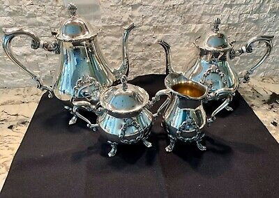 FB ROGERS Georgetown Tea Set 5pc Service TEAPOT COFFEE CREAMER SUGAR Silverplate