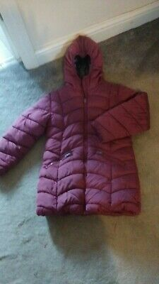 Girls Next Winter Padded Coat With Hood - Age 8/9. Nice Burgundy Colour