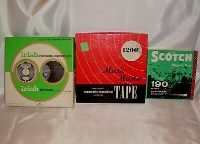 "Vintage Scotch, Irish, Music Master 1/4"" Magnetic Reel to Reel Recording Tape"