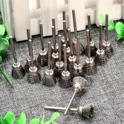 3mm Rotary Tool Steel Wire Wheel Brush Cup Shank For Rust Weld Power Drill 20pc