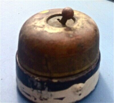 Vintage H&H Dome Brass/Porcelain Round Single-Pole Ball Toggle Light Switch