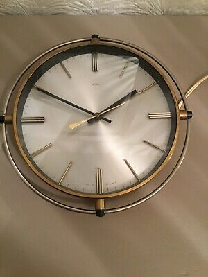 Fab Mid Century Metamec Atomic Brass Wall Clock  #5712