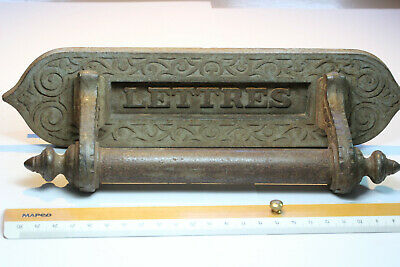 Late 19th Century French Cast Iron Front Door Letter Box with Handle