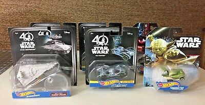 Star Wars 40th Anniversary Hot Wheels Carships + Yoda & Darth Vader Car 6 Piece