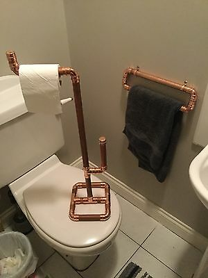 Toilet Roll And Towel Holder Set / SteamPunk / Industrial Pipe / Copper Pipe