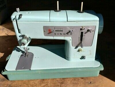 Vintage Singer Sewing Machine Model 348 Robin Egg Blue Made Great Britain w/case