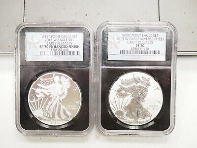 2013 W Silver Eagle West Point Two Coin Set  - Early Releases NGC SP70 & PF70