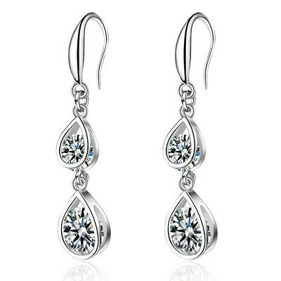 Crystal Tear Drop Hook Earrings 925 Sterling Silver Womens Ladies Jewellery Gift
