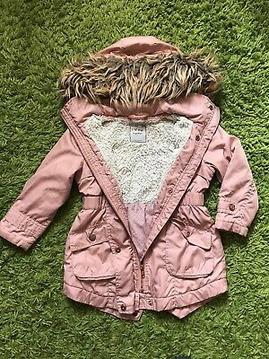 Next Girls Dusty Pink Coat With Fur Trim Hood - 4 Years