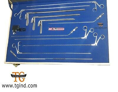 Bronchoscope Rigid Set of three size with Fibe Surgical Instruments Set Rigid