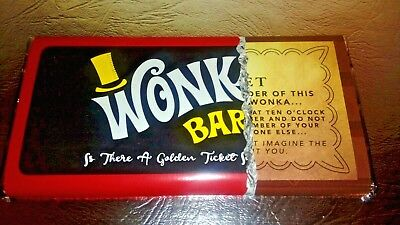 Wonka Chocolate Bar Gift With New Golden Ticket On Front And
