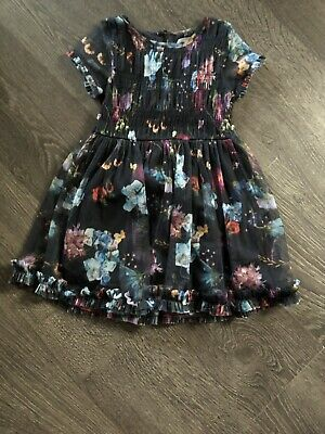 girls next dress age 3-4 years party dress sheer floral vgc