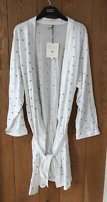 White Heart Embroidered Dressing Gown House jacket Marks&Spencer NWT 16