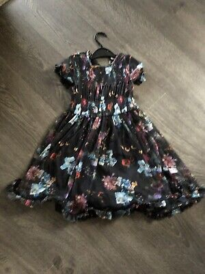 girls next dress age 6 years party dress sheer floral vgc