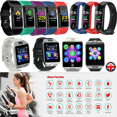 Fitness Tracker Smart Watch Pedometer Heart Rate Blood Pressure Monitor Sport
