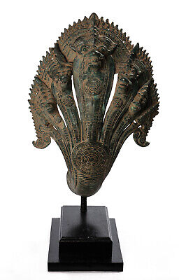 Antique Khmer Style Bronze Mounted Protection Naga Statue - 56cm/22""