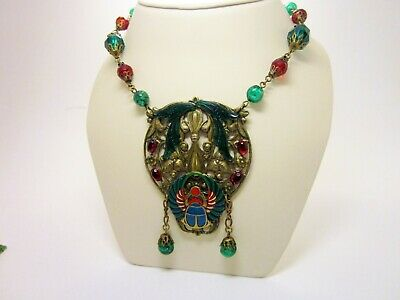 1920s Czech Art Glass and Brass Egyptian Revival Neiger Style Scarab Necklace