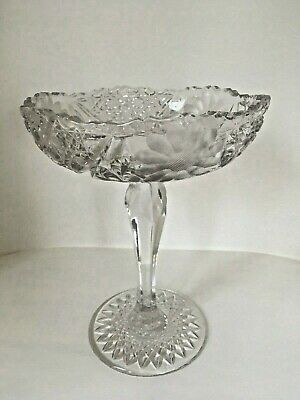 American Brilliant Cut Crystal Tear Drop Stem Compote With Daisies