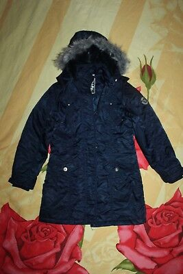 HERE + THERE C&A winter Jacke Parka Kapuze Gr.140 XS TOP blau