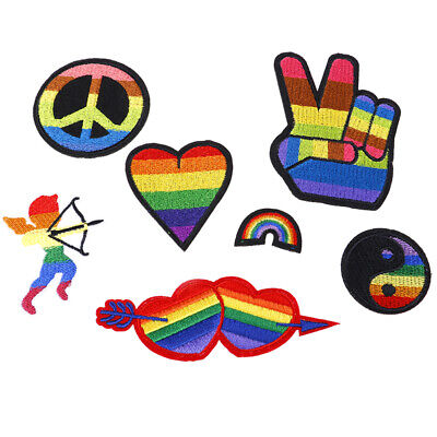 Rainbow Iron On Patches For Clothing Lgbt Flag Gay Pride Embroidered Stick%x