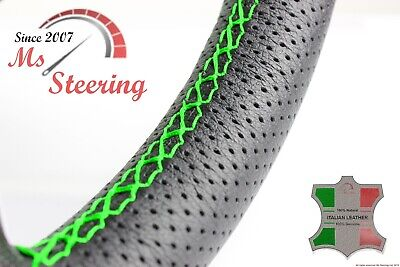 For Jaguar Xe 16-19 Perf Leather Steering Wheel Cover Green 2 Stit