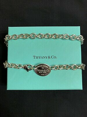 Return to Tiffany & Co. Oval Tag Chain Necklace Choker 925 Sterling Silver 15''