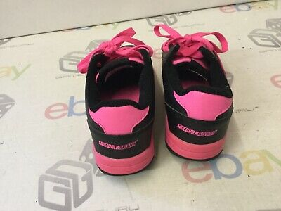 SIDEWALK SPORTS HEELYS Girl's Black & Pink Shoes Size UK 2 ex condition