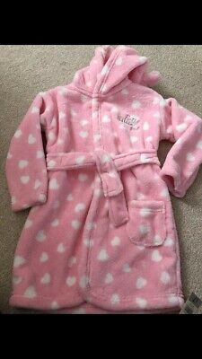 Bnwt Girls Pink Heart Dressing Gown Age 12-18 Months Very Soft