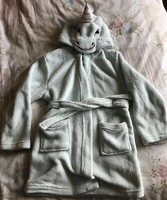 Girls Unicorn Pegasus Mint Green Dressing Gown Fur Horn Age 6 Years