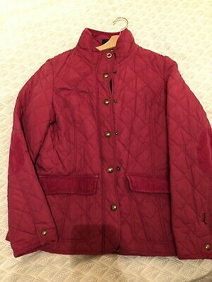 Joules Moredale Quilted Jacket, Size 14, Deep Pink, Coat, VGC