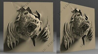 3D STL Model # ANGRY BEAR # for CNC Aspire Artcam 3d Printer Carving Engraver