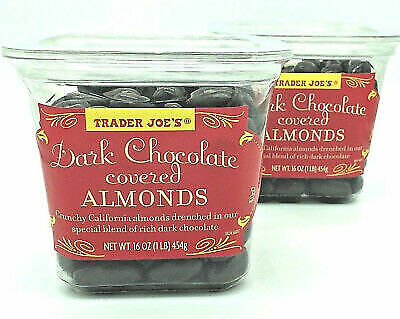 VALUE 2 PACK Trader Joes Dark Chocolate Covered California Almonds Candy