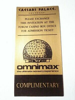 1987 Caesars Palace Casino Las Vegas Nevada Omnimax Ticket Great For Collection!