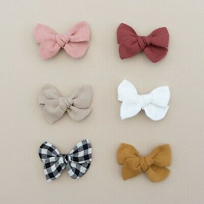 Baby Girl Bow Hand Tied Girl Bow Linen Bow Headband Nude Soft Elastic Present